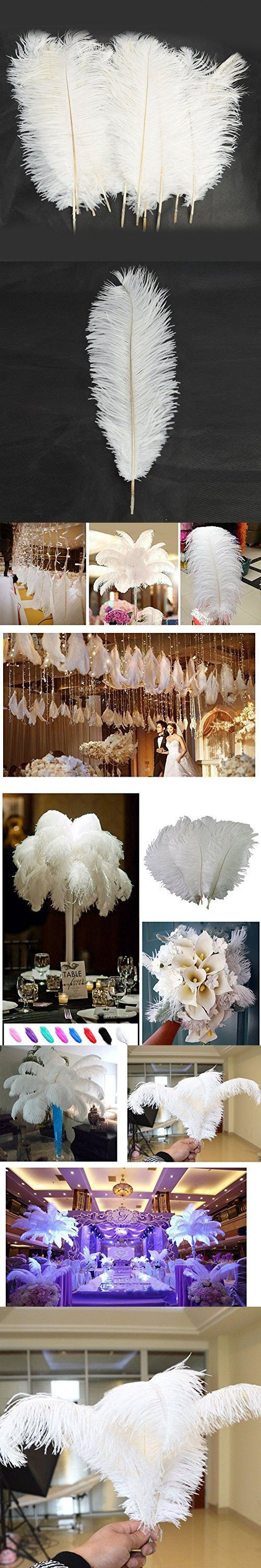 """10pcs Ostrich Feathers 12''-14"""" (30-35cm) Natural Feathers Plume for Home Wedding Centerpieces Decoration Feather Party Decor (White)"""