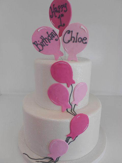 Floating balloons birthday cake