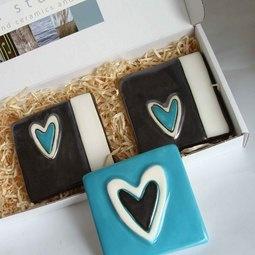 Turquoise Ceramic Heart Tiles Contemporary ceramics