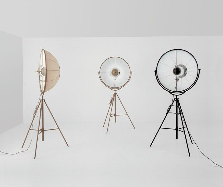 Design by Mariano Fortuny y Madrazo, 1907. Floor lamp. Framework in profiled steel channel section, drawn flat bar and tubular steel. Lampshade in black cotton, with white interior.