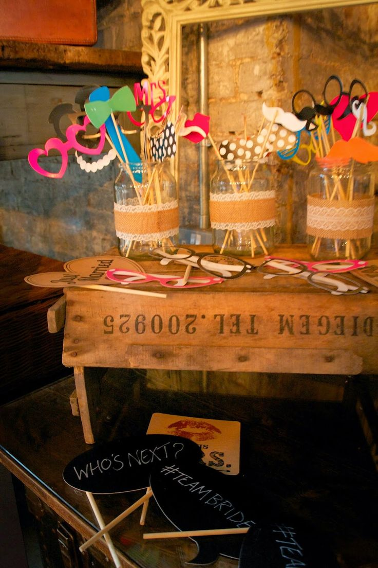 Home made photo booth and props. Photography by Julia Mortimore