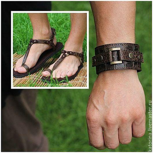 Комплект греческие сандалии и браслет из кроко - 5500 руб.