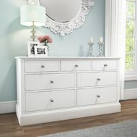 Harper White Solid Wood 4+3 Wide Chest of Drawers