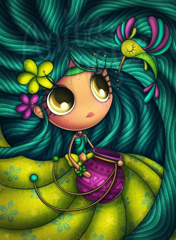 Mexico based artist and illustrator Anita Mejia loves cartoon characters, Scooby, Velma Dinkley, conde Patulas, etc. The most favourite cartoon characters of her are the cute little girls she created with various moods and personalities.