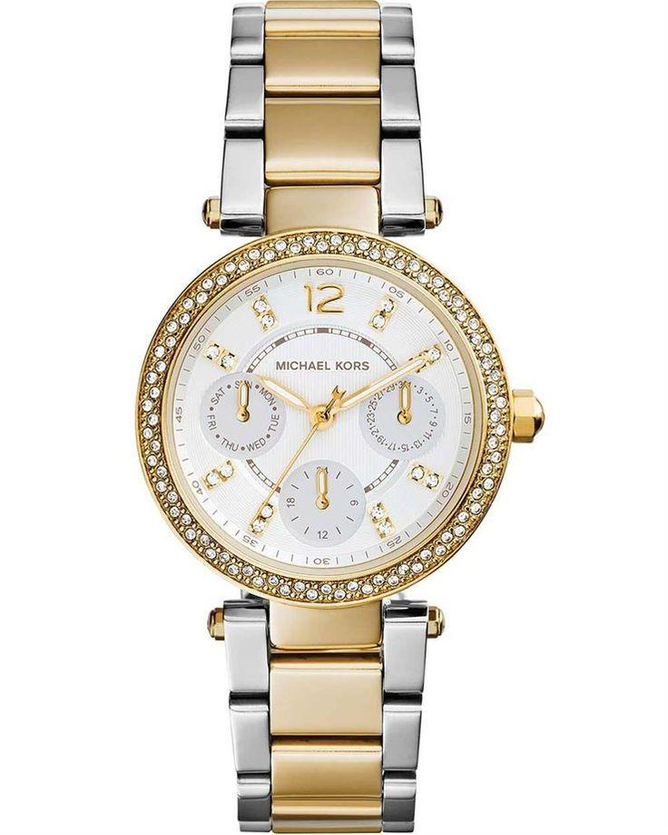 Eντυπωσιακό και ευκολοφόρετο ρολόι από ροζ επιχρυσωμένο ανοξείδωτο ατσάλι και ανοξείδωτο ατσάλι του οίκου Michael Kors.