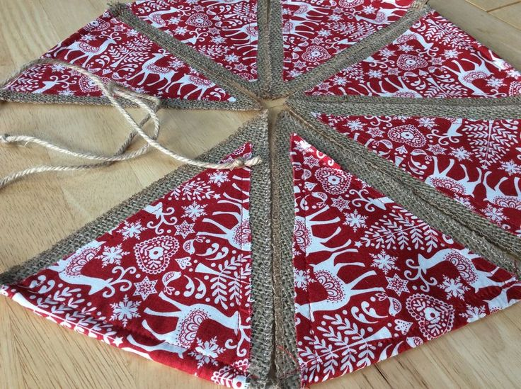 ❤️Christmas Decoration Fabric Bunting❤️ 2 Metre Garland Red Reindeer Traditional  | eBay