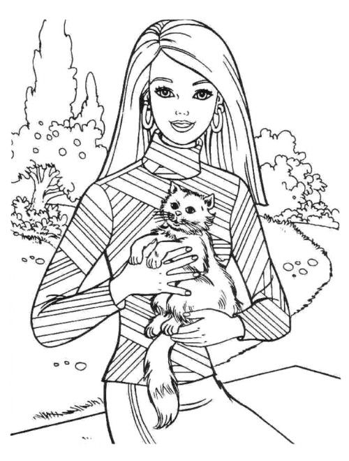 Barbie And Cat Coloring Pages | Kids Coloring Pages ...