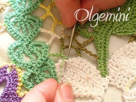 Irish crochet tutorial for joining motifs