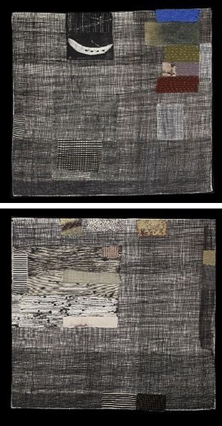 """Dorothy Caldwell, Canadian textile artist. Upper entitled """"Artifact."""" Lower: """"Quiet Place: Willow and Arctic Moss."""""""