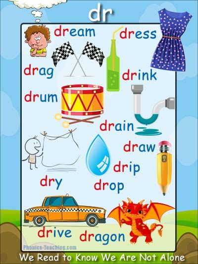 dr words - Phonics Poster - a FREE PRINTABLE poster for auditory discrimination, sound studies, vocabulary and classroom reference.