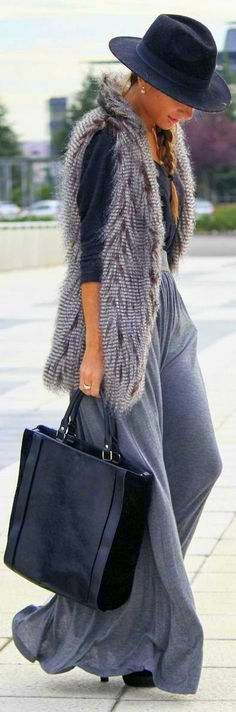 Women's Grey Fur Vest, Black Long Sleeve T-shirt, Grey Maxi Skirt, Black Suede…