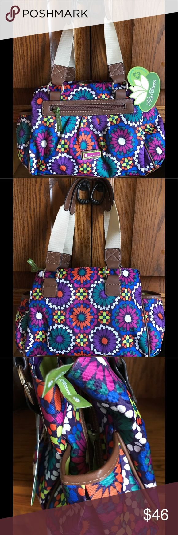 """Lilly Bloom Satchel Purse Desert Sahara Color Lilly Bloom's Purse made from """"Karma Bloom"""" fabric, which is made from recycled plastic bottles. Desert Sahara design. Triple section bag. Style 21RPF84LB-DS Lilly Bloom Bags Satchels"""
