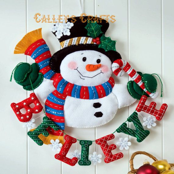 Bucilla Snowman Believe Felt Christmas Wall Hanging Kit