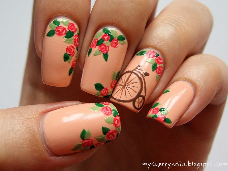 Cherry Nails. Flowers. Nail design. #nail #nails #nailart