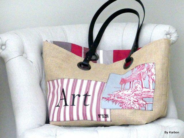sac cabas GM en toile de jute de la boutique bykarbon sur Etsy