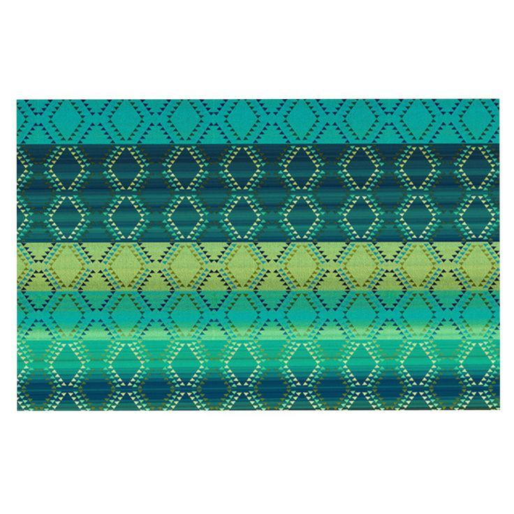 "Nina May ""Denin Diamond Gradient Green"" Turquoise Emerald Decorative Door Mat"
