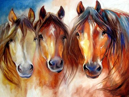 Amigos Three - Horses F1 - horses, marcia baldwin, art, equine, baldwin, painting, animal, artwork