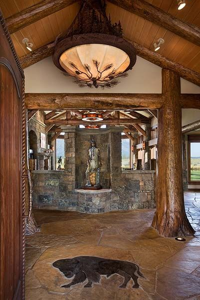 Buffalo Custom Stone Work In The Floor Native American