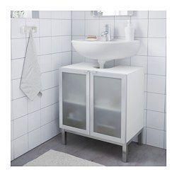 IKEA - LILLÅNGEN, Waschbeckenunterschrank, 2 Türen, weiß/Aluminium,