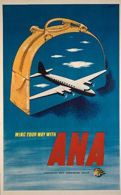 ANA Travel poster.ANA became ANSETT.A Magnificent Airline it was said but a Terrible Business.Folded.