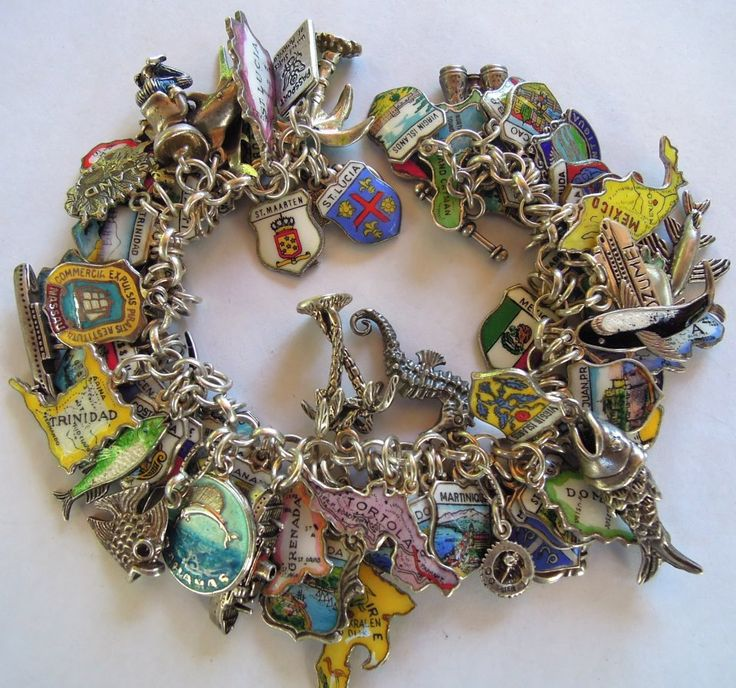 eCharmony Charm Bracelet Collection - Island Enamel Maps & Shield Charms