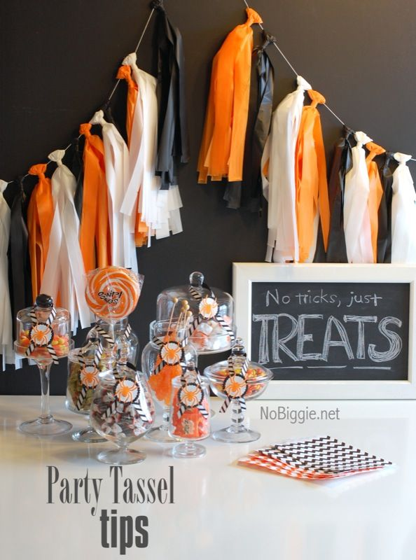 Halloween garland - black, white, orange plastic tablecloth tied to ribbon or