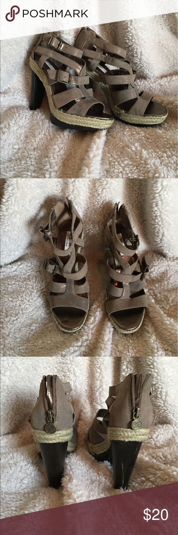 Shimmery Grey Simply Vera, Vera Wang Heels Simply Vera, shimmery grey, Strappy, double buckle, 5 inch heel, hardly worn, size 7, all man made material Simply Vera Vera Wang Shoes Heels