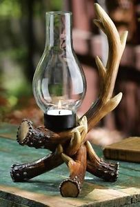 Northwood Lodge Cabin Home Decor Rustic Deer Antler Glass Chimney Candle Holder
