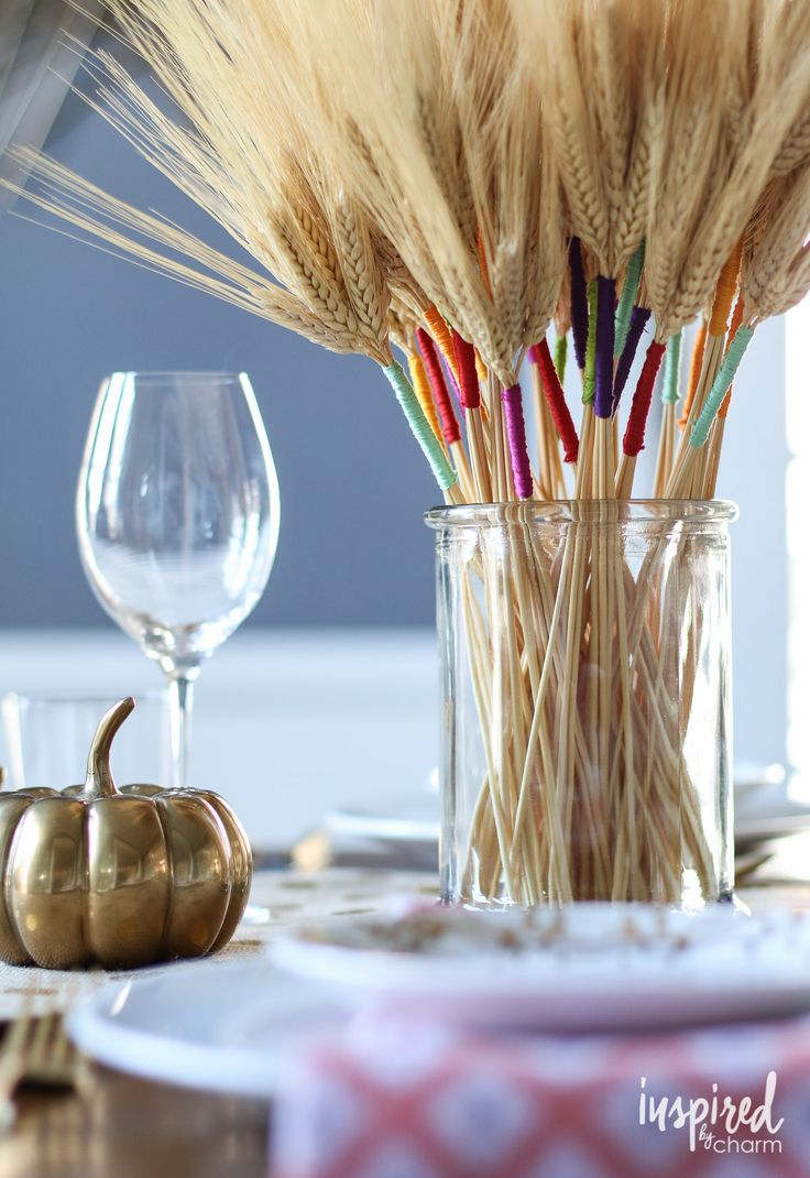 DIY Color Wrapped Wheat / Fall DIY Project - inspiredbycharm.com