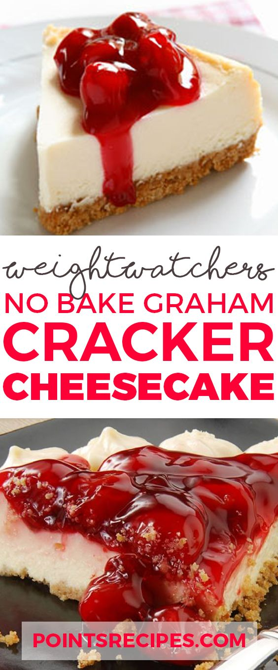 No Bake Graham Cracker Cheesecake with only 3 Weight Watchers SmartPoints