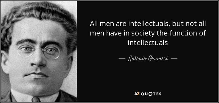 All men are intellectuals, but not all men have in society the function of intellectuals - Antonio Gramsci