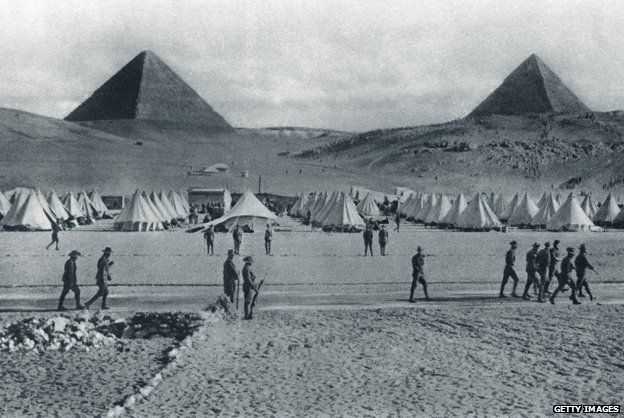 Australian troops camped in front of the pyramids in Egypt during World War I. From The Illustrated War News 1915