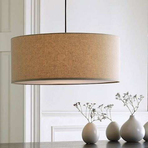 Linen drum pendant light.- going over my kitchen table. with a diffuser or a filament bulb