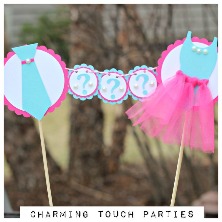 Gender Reveal Party Cake Topper.  Ties or Tutus / Hot pink and aqua party decoration.  Customizable. by CharmingTouchParties on Etsy