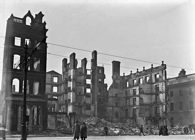 Skeleton of the Metropole Hotel  All that remained of the Metropole Hotel, beside the GPO on Sackville Street (now O'Connell Street), after the Easter Rising, 1916. This site is now occupied by Penney's Department Store.  Dublin, Ireland  Date: Circa May 1916