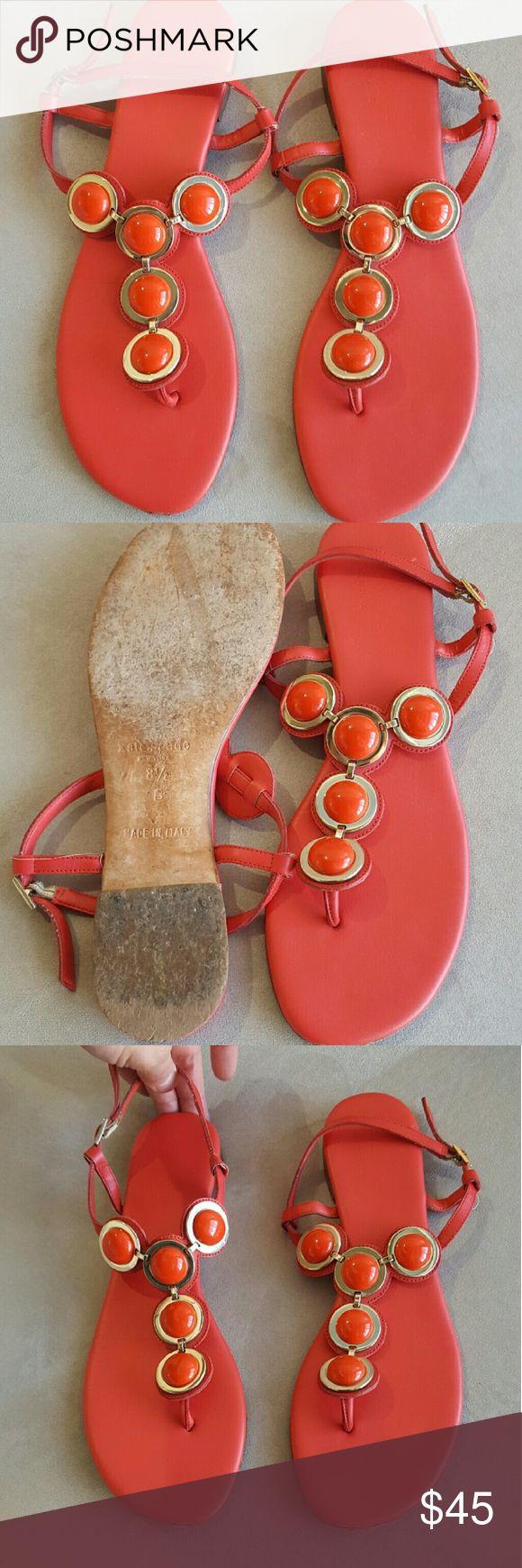 Women's Kate Spade coral sandals, size 8.5 Women's coral and gold Kate Spade sandals. Size 8.5 kate spade Shoes Sandals