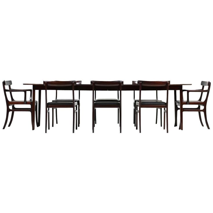 """1960s Ole Wanscher Pj Dining Room Set """"Rungstedlund"""" Table and Eight Chairs   See more antique and modern Dining Room Sets at https://www.1stdibs.com/furniture/tables/dining-room-sets"""