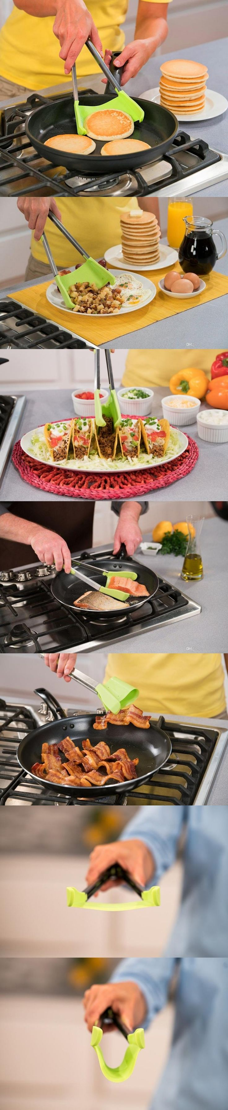 Brilliant kitchen tool combines tongs with a spatula!
