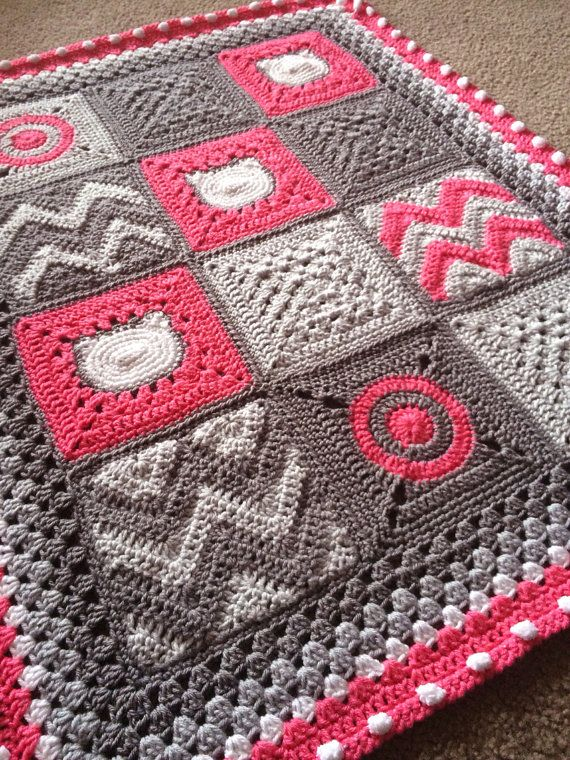 Crocheting A Baby Quilt : ... quilt style crochet Blanket 32x42, great color pink grey toddler/baby