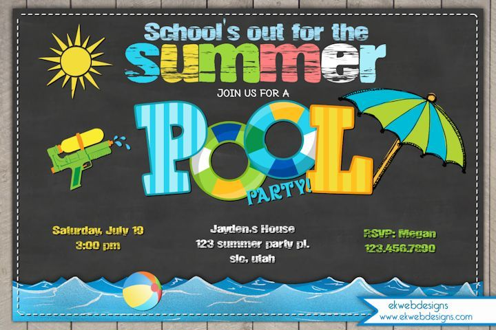 Summer Pool Party Invitation - Schools out for summer party invite