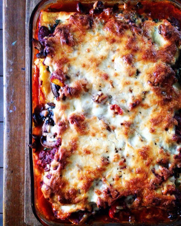 Cheesy Polenta Lasagna - loaded with kale & mushrooms.