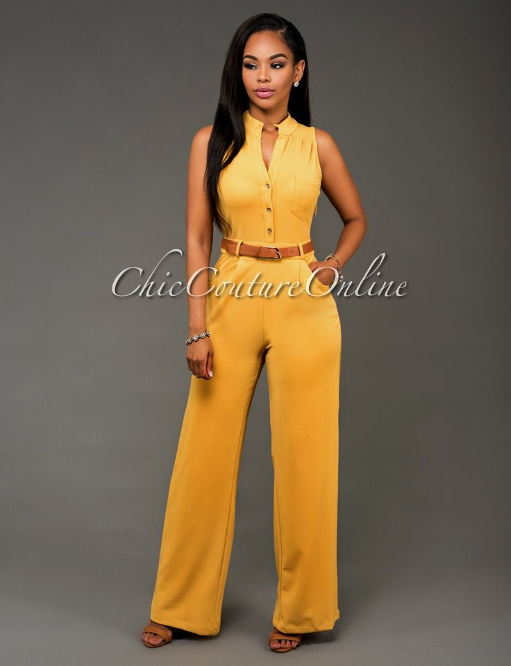 Chic Couture Online - Crystal Yellow Gold Button Front Belted Jumpsuit.(http://www.chiccoutureonline.com/crystal-yellow-gold-button-front-belted-jumpsuit/)