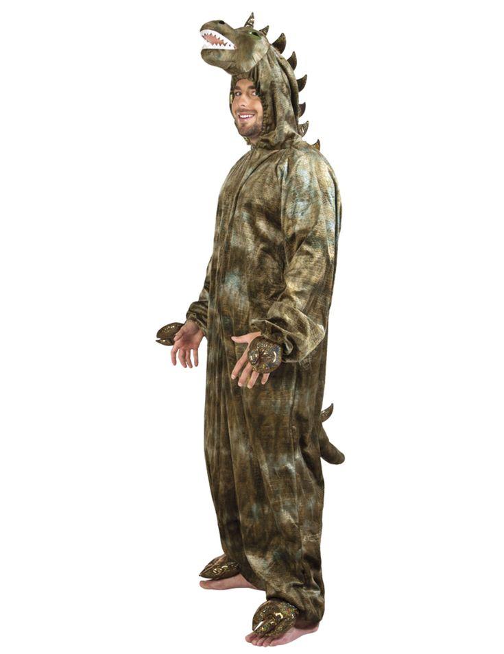 Disfraz de dinosaurio deluxe adulto: Este disfraz de dinosaurio para hombre incluye traje con capucha y cola.El traje es verde con capucha de dinosaurio y patas doradas.Imita la piel de dinosaurio con escamas falsas en la cabeza y...