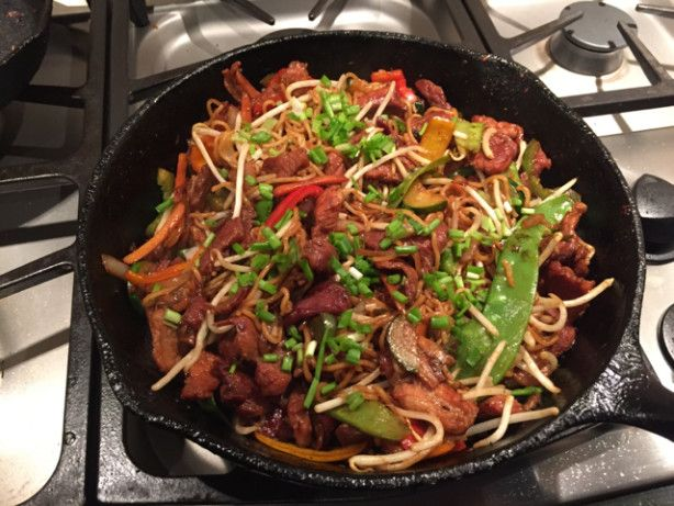Teriyaki Pork Stir Fry Very good-use slightly less soya sauce, but double rest of ingredients for our family. Add 2 tbsp of vinegar to marinade also. Use red/green bell peppers, onions, and mushrooms for a family favorite. Very good served with rice and Minh Brand Pork and Vegetable Egg Rolls (Costco)