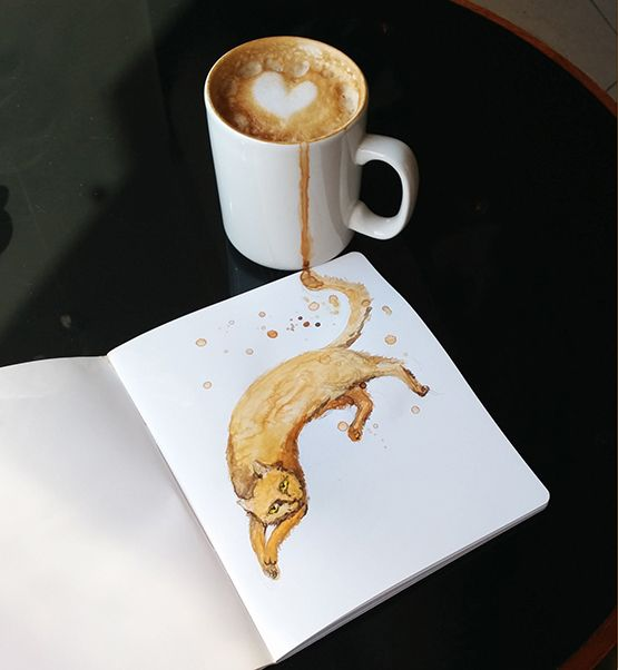 Clever Cat Illustrations That Give Personality to Coffee Drinks From Which They Are Drawn