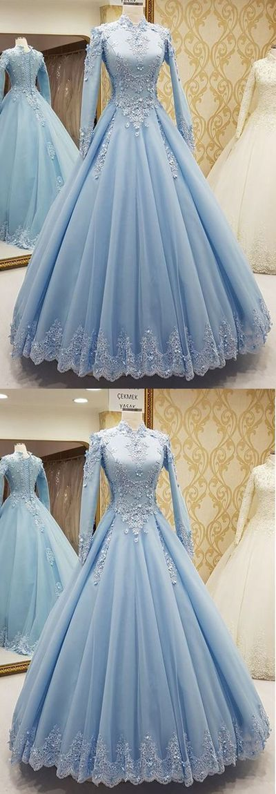 High Neck Tulle Muslim Evening Dress, A Line Women Prom Dress, Long Prom Gowns ,Long Sleeve Blue Tulle Prom Gowns