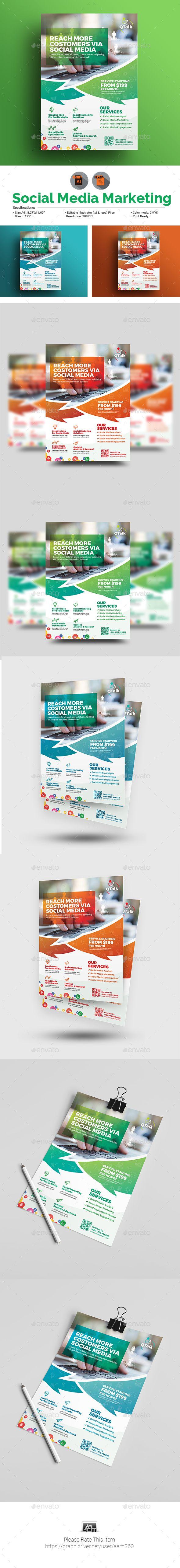 Social Media Marketing Flyer Template Vector EPS, AI Illustrator
