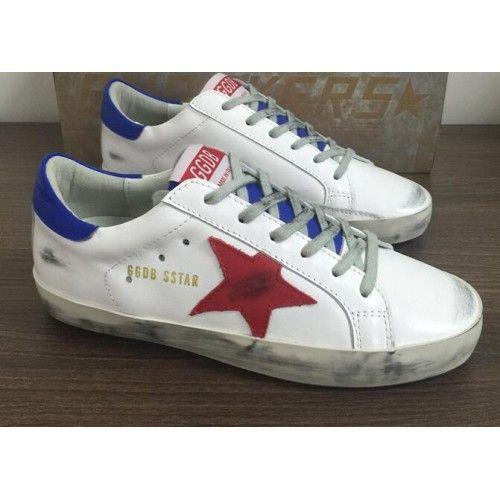 2017 GGDB Schuhe Billig Golden Goose DB SuperStar Herren Sneakers Weiß Rot Blau