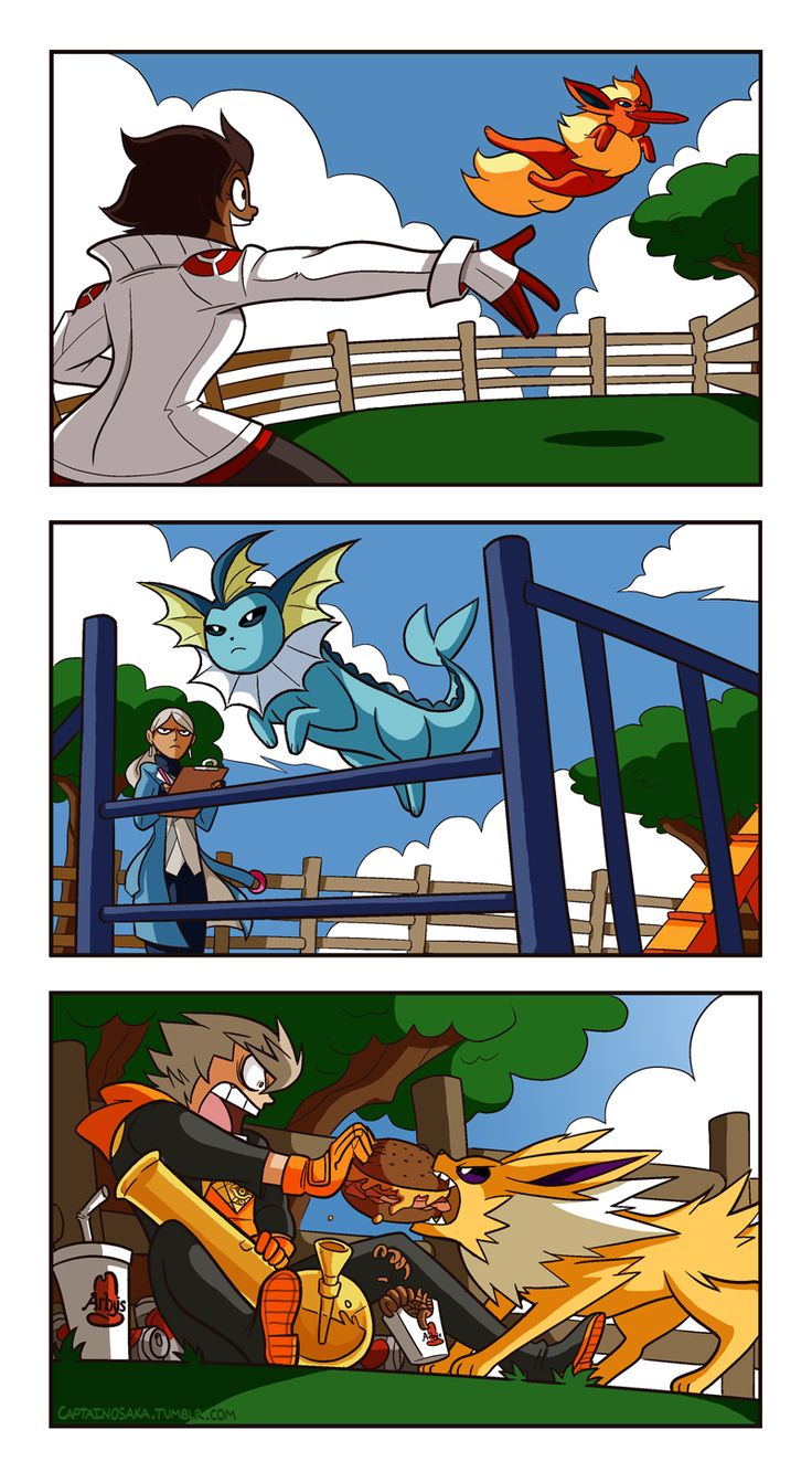 Here we have our Pokemon Go gym leaders doin' their thing at the dog park I love how instantaneously Spark was decided to be a complete wastoid dingbat, it's very endearing and almost has me renouncing my Mystic affiliation for Instinct also HEY BEEN...