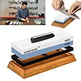 #2: Professional Knife Sharpener Stone-Dual 1000/6000 Japanese Grit Whetstone-Knife Sharpening Stone Kit Included Non-slip Bamboo Base & Angle Guide-Perfect To Sharpen and Polish Knives Scissors Chisel
